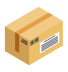 cardboard box with purchase delivering parcel vector image