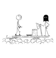 Cartoon of man walking on his own execution vector