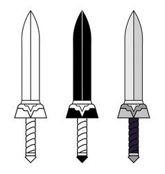 Cartoon outline black sword isolated on white vector