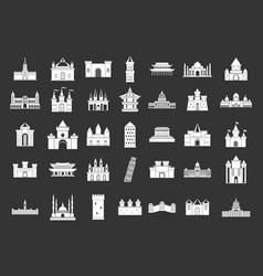 castle icon set grey vector image