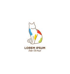 Cat pet care outline line art monoline logo icon vector