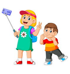 children are posing and taking a selfie vector image