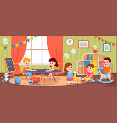 Children playing in room kids activity vector