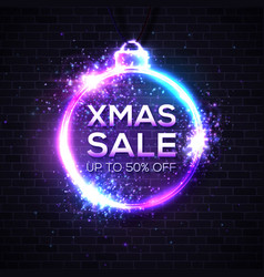 christmas sale design template neon text in circle vector image
