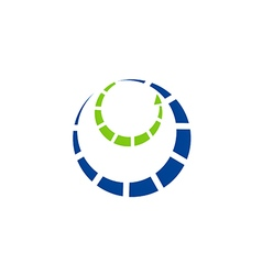 circle orbit technology communication logo vector image