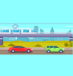 city landscape with electric train on highways vector image
