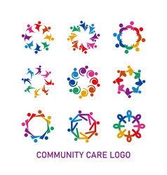 colorful social community care logo vector image