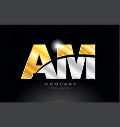 Combination letter am a m alphabet with gold vector