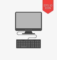 Computer icon Flat design gray color symbol Modern vector image