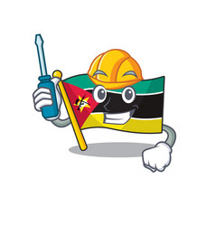 Cool automotive flag mozambique presented in vector