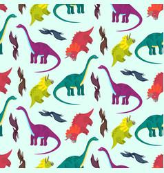 cute cartoon multicolored dinosaurs pattern vector image