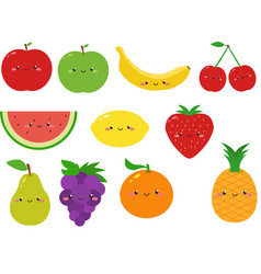 Cute fruits cartoon clipart vector