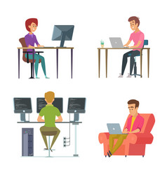 designers and programmers at work vector image