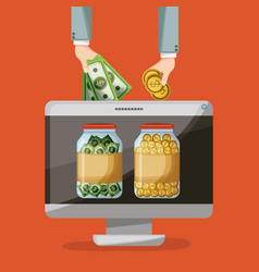 Desktop computer with savings bottle of coins and vector