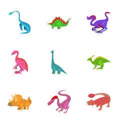 different type of dinosaur icons set vector image