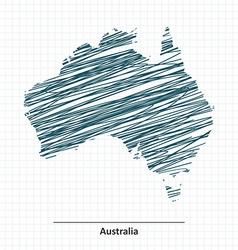 Doodle sketch of Australia map vector image