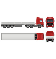 Dropside truck mockup side front back top view vector
