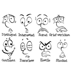 eight facial expressions of human vector image