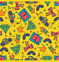 fashion seamless pattern with the tape recorder vector image