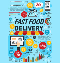 fast food online order infographics vector image