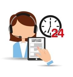 Female call center 24 clock service complaints vector