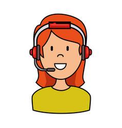 female call center agent vector image