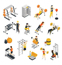 Fitness in gym isometric icons set vector