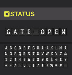 flip board airport flight status gate open vector image