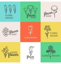 Floral design line logo vector