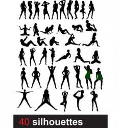 forty silhouettes vector image