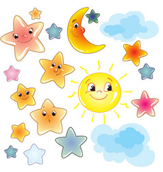 funny cute stars on transparent background clip vector image