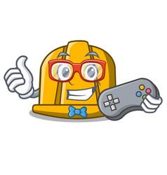 gamer construction helmet mascot cartoon vector image