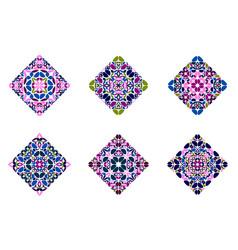 Geometrical petal square shape set - colorful vector