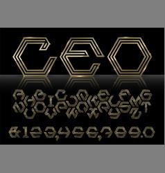 gold hexagon font vector image