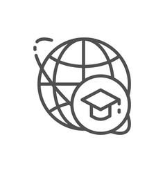 Graduation cap and world global education line vector