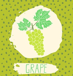 Grape hand drawn sketched fruit with leaf on vector image