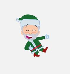Green santa claus laughing while teaching vector