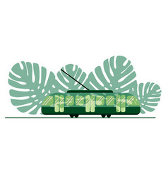green tram on background green leaf the vector image