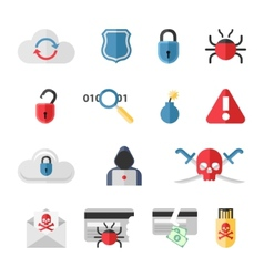 Hacker flat icons set with bug virus crack worm vector