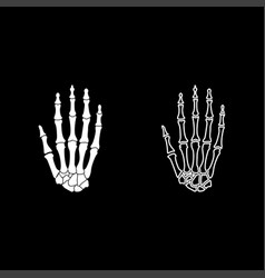 hand bone icon set white color flat style simple vector image
