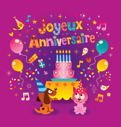 Happy birthday in french greeting card vector
