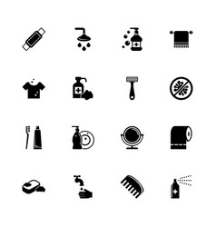 Hygiene fight - flat icons vector