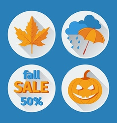 icons set autumn flat design vector image