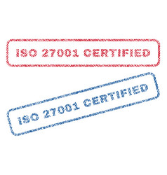 Iso 27001 certified textile stamps vector
