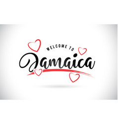 Jamaica welcome to word text with handwritten vector