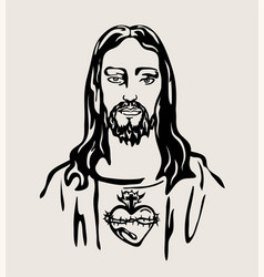 Jesus christ with the sacred heart vector