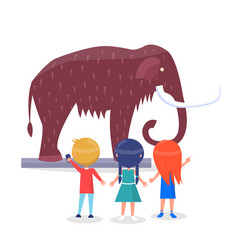 kids admiring mammoth model isolated vector image