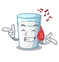 Listening music fresh milk glass in cartoon table vector