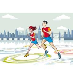 London Marathon Runners vector image