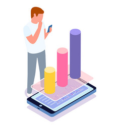 man with smartphone studying analytic sale data vector image